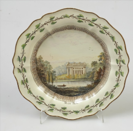 Dessert plate, hand painted in enamel colours with a view Moor Park, c.1774