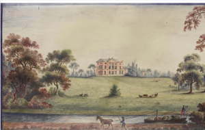 Painting on tile of Etruria Hall. James Bakewell, 1773. Wedgwood Museum