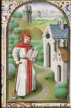 St Fiacre of Meaux Patron Saint of Gardeners Hours of Simon de Varie, c.1455 British Library
