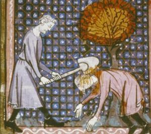 Cain killing Abel BL MS Douce 211, 14thc