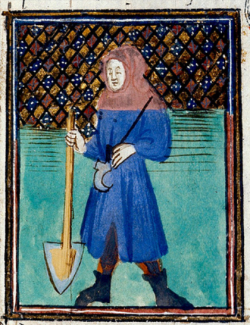 Labpurer with spade andd pruning blade, 15thc British Library, Royal Ms 19