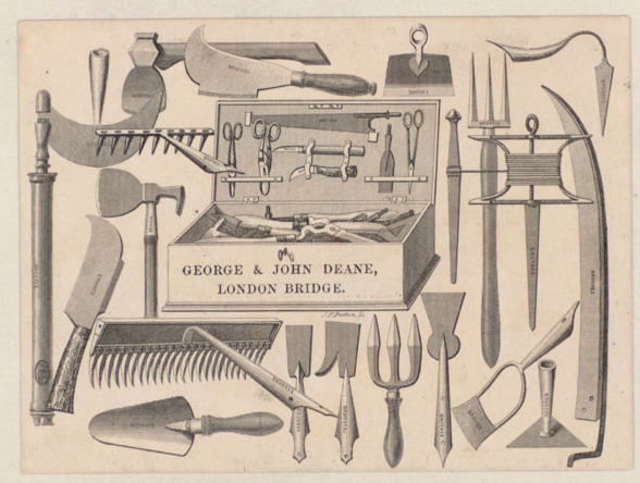 Advertisment for George and John Deane's range of tools, from the John Johnson Collection of Ephemera, Bodleian Library