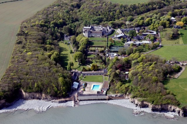 An aerial view of St Donat's Castle and its ground, which run steeply down to the sea http://www.panoramio.com/photo/36428879