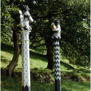 Heraldic lions on columns which mark the entrance to a 'sacred grove' at Castell Gryn,  Country Life Picture Library Published  Originally  29/09/1988