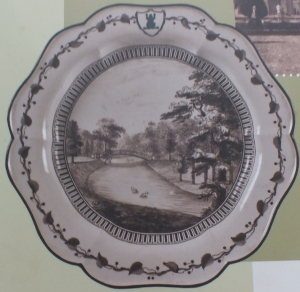 The original Chinese Bridge, painted by the Countess for the Green Frog service Taken from a display panel in the Bowling Green House