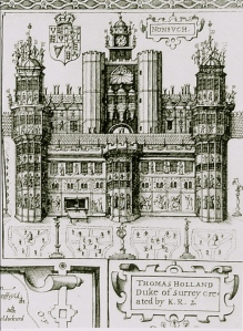 Nonsuch Palace from Speed's map of Surrey 1610