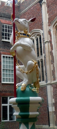 The White Hart, probably derived from Richard II, which became a Yorkist badge and was also adopted by Edward V from Chapel Court, Hampton Court
