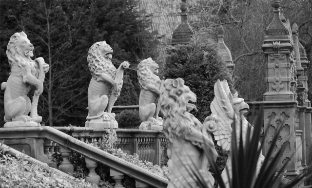 The beasts on the terrace at Crewe Hall image courtesy of William Bishop