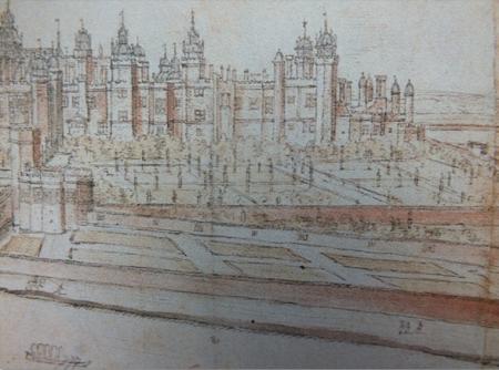 Detail of a drawing of Hampton Court by Antony van den Wyngaerde, c.1554-7 Ashmolean Museum Oxford