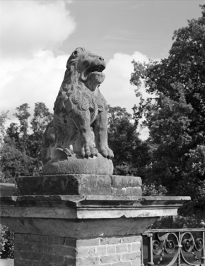 A stone lion at Sheriff Hutton Hall.  Country Life Picture Library Published originally  15/09/1966