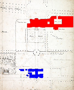 The relative positions of old house (blue) and its replacement (red) Bedfordshire County Archives , L33/150