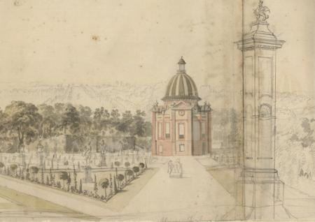 View of Wrest Park from SE of the Pavilion,   Peter Tillemans early 18th Century [Bedfordshire County Archives, ref.L33/129]