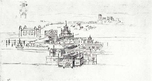 Drawing by Antony van den Wyngaerde Palace of Whitehall, c.1554-7 Ashmolean Museum Oxford