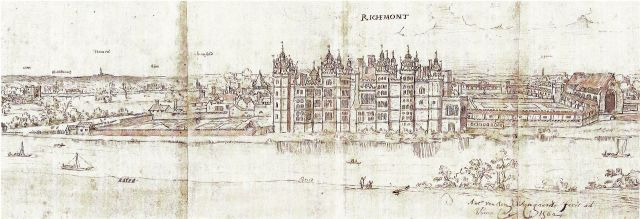 Richmond Palace from SW by Wyngaerde c.1558-62. Ashmolean Museum, Oxford