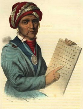 """Se-Quo-Yah."" Lithograph, 1836. Indian Tribes of North America"