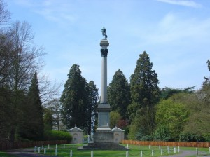 The Wellington Memorial at Stratfield Saye, with attendant sequoias, http://www.redwoodworld.co.uk