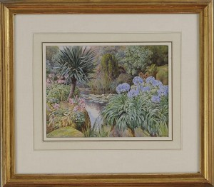 LILIES, AGAPANTHUS AND YUCCA BY A POOL prrhaps at Overstrand