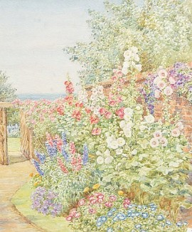 Garden path with hollyhocks http://www.invaluable.com