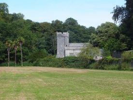 St Donat's church from the valley David Marsh 2014