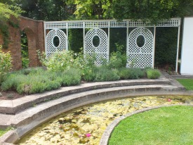 The Lavnder Court, with the   water lily pool and trellis arcade. David Marsh 2014