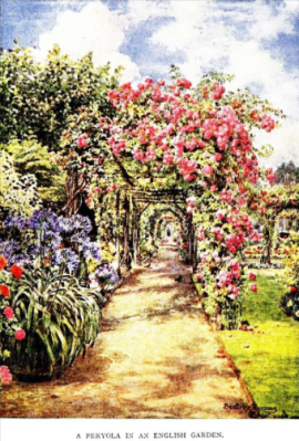 This pergola was in the garden of Charles Dowdeswell at Surbiton from Calthrop's The Charm of Gardens