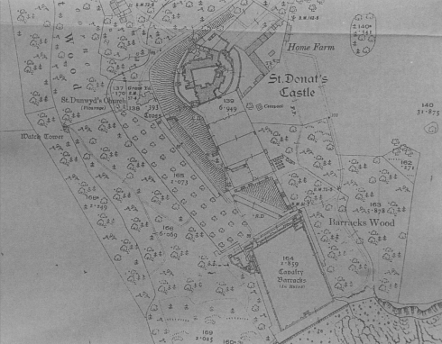St Donat' s Castle and Gardens from the 1914 Ordinance survey 25 inch map, surveyed 1876, revised 1914
