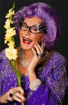 Dame Edna and her favourite flower. http://www.sydneyflowerschool.com.au/1074/flower-of-the-week-gladioli/