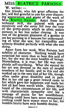 Obituary in the Times 21st February 1955