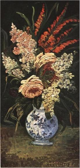 Vase with gladioli and lilac Vincent Van Gogh, 1886