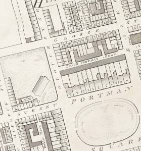 Montagu HOuse and Portman Square from Horwood's Map of London 1792-99