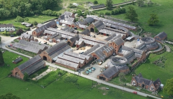 The model farm buildings at Leighton Hall is now home to  Yorton  Farm Stud http://www.yortonfarm.co.uk