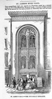 St James Hall, Piccadilly from Illustrated London News, 3rd April 1858