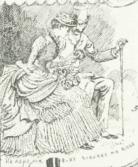 """He asks for and secures his rose"" from A Summer Rose Show, Illustrated London News, 23rd June 1884"