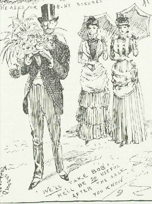 """We'll take Bob. He'll be SO useful after the sale you know"" from A Summer Rose Show, Illustrated London News, 23rd June 1884"