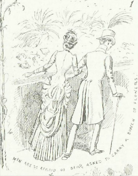 """Men are so afraid of being asked to carry a bunch of flowers"" from A Summer Rose Show, Illustrated London News, 23rd June 1884"