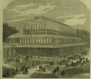 The Conservatory at the RHS gardens in Kensington, from Illustrated London NEws 13th July 1861
