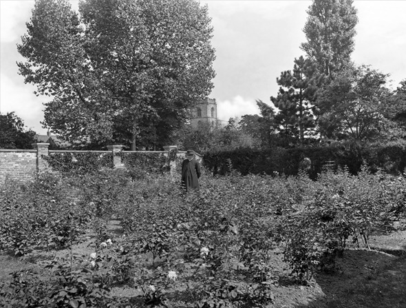 Rev. Samuel Reynolds Hole in his garden at Caunton Manor with St Andrew's Church in the background.  Published in Country Life 21/10/1899 Country Life Picture Library