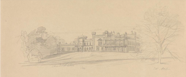 Knowsley Hall undated drawing by Lear Yale Centre for British Art