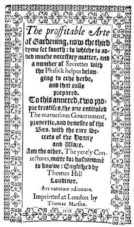 The title page of The proffitable arte of gardening, 1568