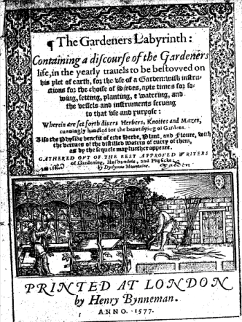 Th etitle page of The Gardener's Labyrinth, first edition, 1577