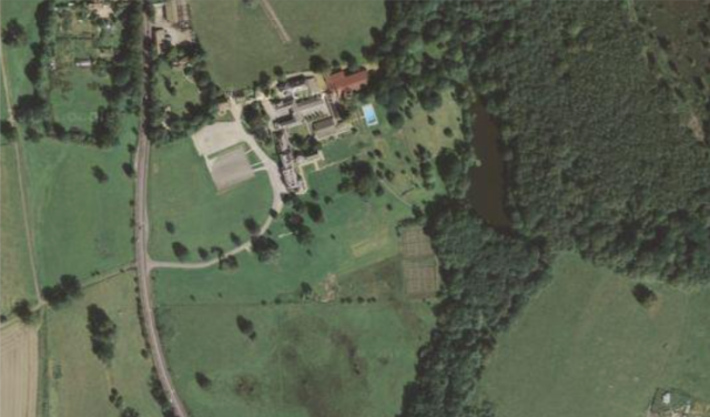 """Sandleford Priory, now St Gabriels' School.  The water on the right is """"Brown's Pond"""""""
