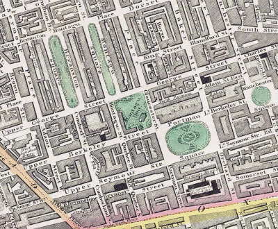 Portman Square from Greenwood's Map of London 1830