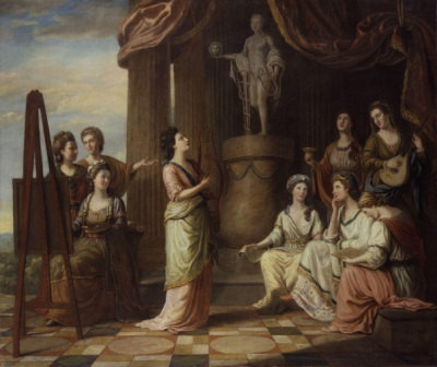 the-nine-muses-of-great-britain Portraits in the Characters of the Muses in the Temple of Apollo by Richard Samuel, 1778 National Porrait Gallery