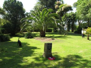 Penlee Memorial Park, with the HMS Penzance plaque  © Copyright David Hawgood and licensed for reuse under this Creative Commons Licence.