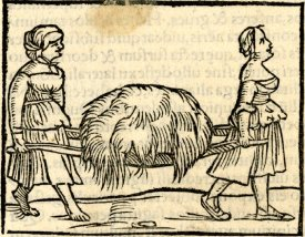 Two peasant women carrying hay on a litter; to right; illustration to an unidentified Latin edition of Sebastian Münster, 'Cosmographia', probably printed by Petri in Basel, c.1544-52. Woodcut © The Trustees of the British Museum
