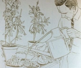 Percy watering in the greenhouse [and his shirtsleeves!] from Percy Throwers Guide to Gardeners' World