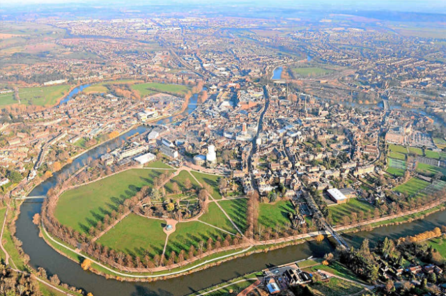 Aerial viee of Shrewsbury, with Quarry Park in the foreground. The Dingle is the central garden area. http://www.shropshirestar.com