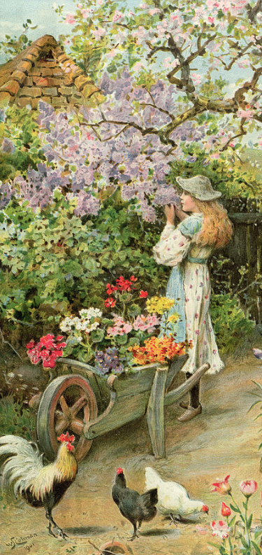 detail from Spring Blossoms, by William Stephen Colema in  the Pears Annual, 1902, Bridgeman Images