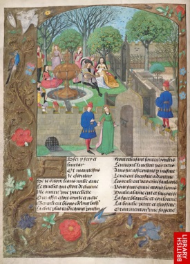 The lover [dressed here in red and blue] being led into the garden from  Le Roman de la Rose. Bruges c.1490British Library, Harley MS 4425, f. 12v