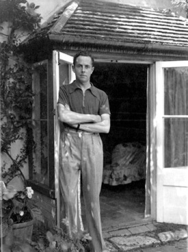 "Beverley Nichols at Thatch Cottage — which he bought in 1928 and put up for sale in 1937 — in the town of Glatton, which he called Allways in ""Down the Garden Path."" http://tmagazine.blogs.nytimes.com/2011/01/12/fabulous-dead-people-beverley-nichols/"